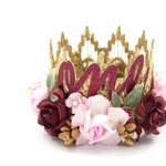 NEW first birthday Boho Bloom mini Sienna flower lace crown ||  gold + wine + pink