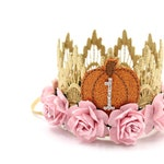 NEW Pumpkin first birthday crown MINI Sienna ||  gold with baby pink flowers lace crown headband || photo prop || customize ANY age