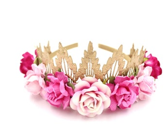 NEW Shades of Pink Sienna rose gold lace TIARA with large flowers || Flower girl or Bridesmaid crown || Flower crown
