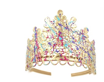 NEW splatter paint TIARA  || fits girls -women || painting party || One of a Kind