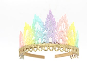 Sienna pastel rainbow + gold lace tiara    fits all ages