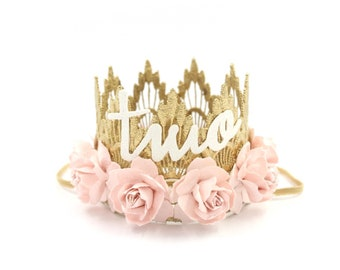 MINI Sienna Second Birthday crown cursive TWO    gold with palest pink flowers lace crown headband    customize ANY age