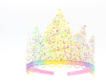 Pastel Rainbow SPRINKLES lace tiara    fits all ages {toddler-adults}