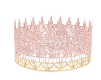 NEW Blush + rose gold Jaden || full size lace crown || photography prop|| Child-Adult ||custom sizes|| WASHABLE || Love Crush Exclusive