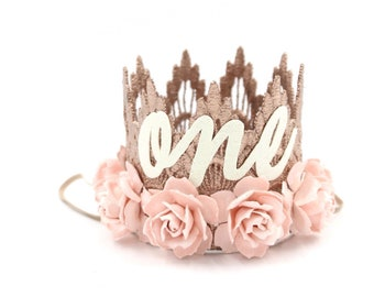 MINI first birthday crown cursive one     rose gold with palest pink flowers lace crown headband    customize ANY age