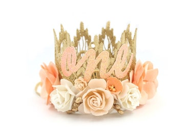 NEW first birthday Boho Bloom MINI Sienna flower lace crown    peaches in cream    can be made in ANY age