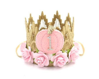 NEW Pumpkin first birthday crown MINI Sienna     gold with baby pink flowers  pink felt pumpkin lace crown headband    customize ANY age