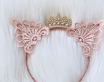 P r i n c e s s Kitty    blush cat ears headband with crown    one size fits most {children-adults}