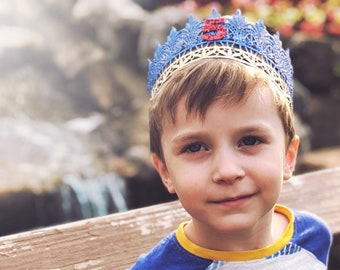 NEW Blue + Red BOY Birthday Jaden || full size lace crown || photography prop|| Child-Adult || custom size || Love Crush Exclusive