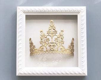 NEW 3D wall art || gold lace TIARA crown framed wall decor || wall hanging || princess art || collectible || custom colors ||