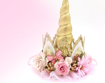 Boho Bloom pink + gold UNICORN flower lace crown headband with butterfly || Unicrown || Photography prop
