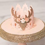 Boho Deer flower lace crown || peach or pink || headband option || photo prop || shelf decor or cake topper