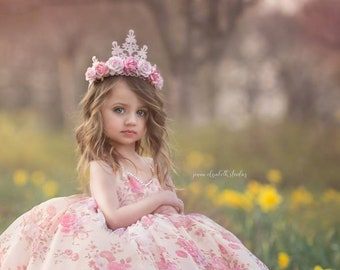 NEW    Elle Pink l o v e floral lace tiara    Flower girl or Bridesmaid crown   photography prop