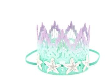 ORIGINAL Mermaid Starfish    ombre lavender mint aqua    silver or gold starfish    MINI lace crown headband   photo prop    WASHABLE