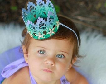 ORIGINAL Mermaid Starfish || ombre lavender mint aqua || silver or gold starfish || MINI lace crown headband|| photo prop || WASHABLE