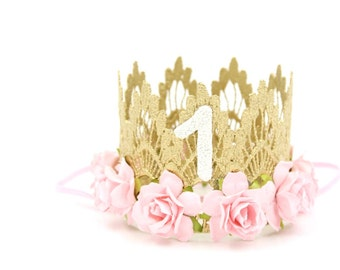 First Birthday crown MINI Sienna ||  gold baby pink flowers lace crown headband || photo prop || customize ANY age || Ready to Ship