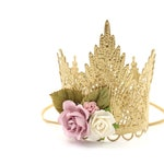 NEW Sevyn Tiara Crown with flowers    MINI lace crown with headband    photography prop or cake topper