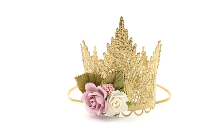 NEW Sevyn Tiara Crown with flowers  MINI lace crown with image 0