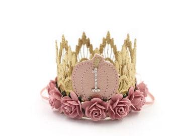 NEW b l u s h Pumpkin first birthday crown MINI Sienna     gold with dusty pink mauve flowers lace crown headband