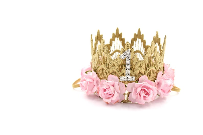 First Birthday crown MINI Sienna   gold baby pink flowers image 0