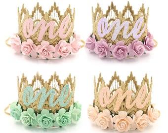 NEW    birthday MINI Sienna flower lace crown headband    ANY age    Choose One