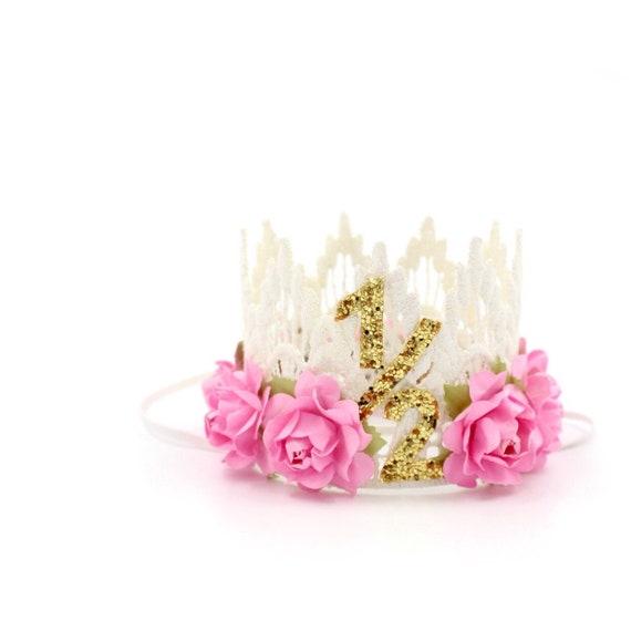 pink and white birthday headband half birthday