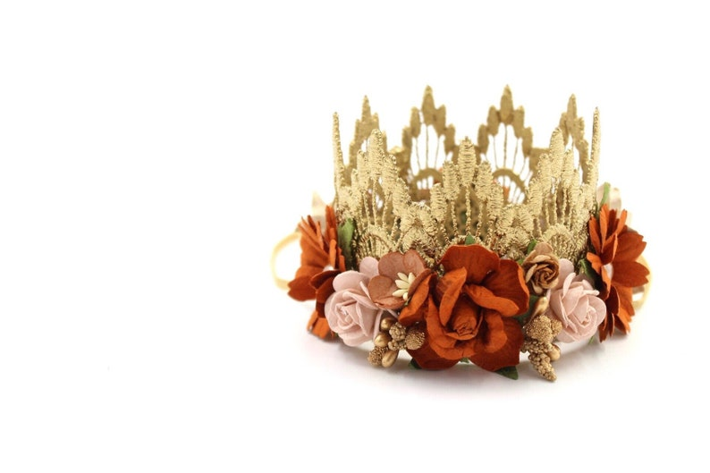 NEW F A L L Boho Bloom  MINI Sienna flower lace crown gold image 0