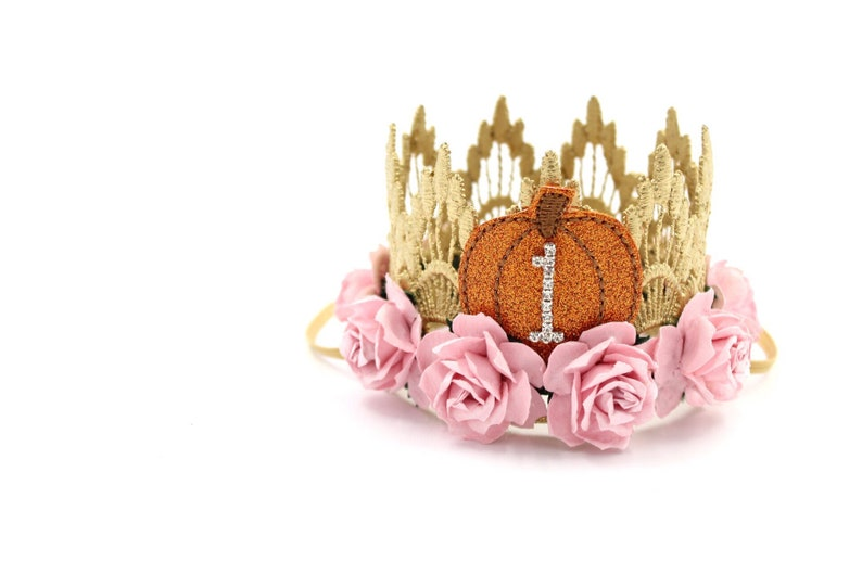 NEW Pumpkin first birthday crown MINI Sienna   gold with image 0
