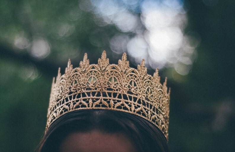 Love Crush Exclusive |custom sizes photography prop Child-Adult Jaden full size gold crown made of LACE