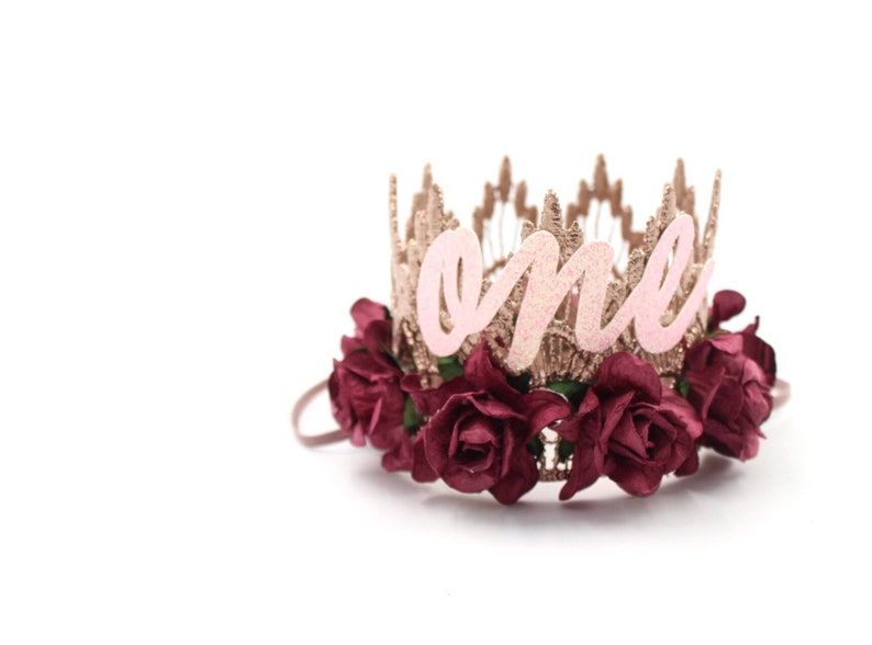 NEW first birthday crown with cursive ONE  rose gold  wine image 0