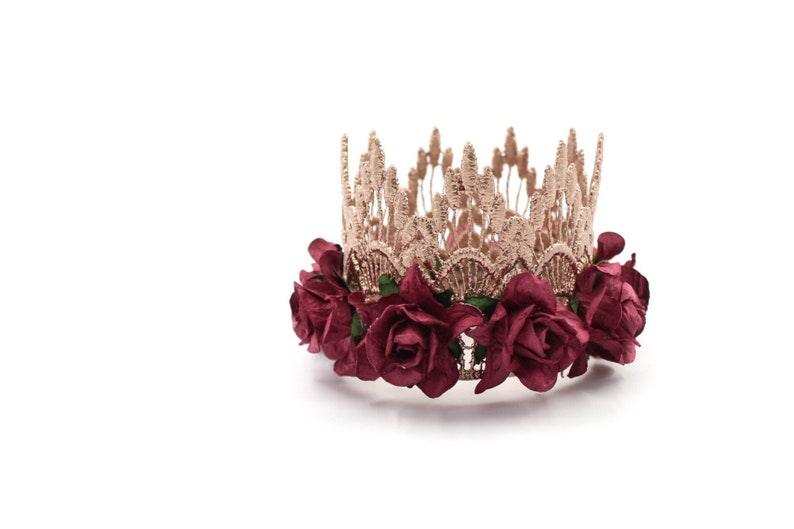 NEW rose gold  wine MINI Sienna lace crown headband  photo image 0