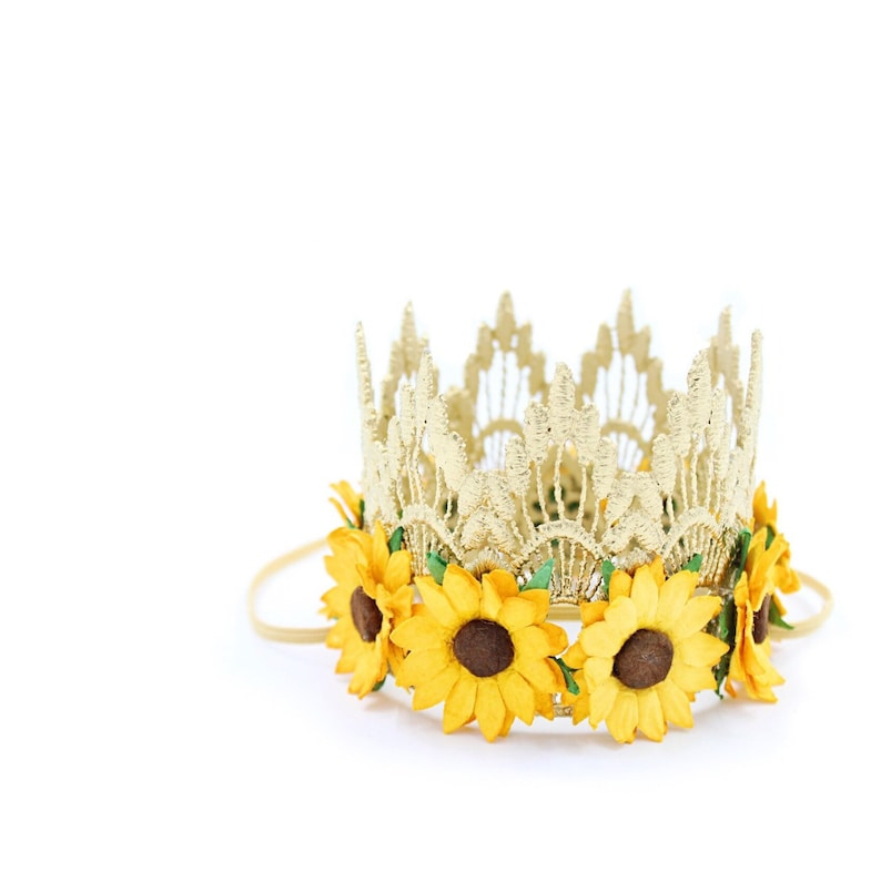 NEW  MINI gold Sienna with sunflowers  lace crown headband image 0
