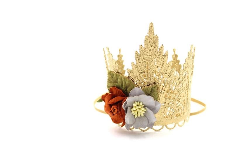 NEW gold Sevyn Tiara Crown  gold  rust  grey  MINI lace image 0