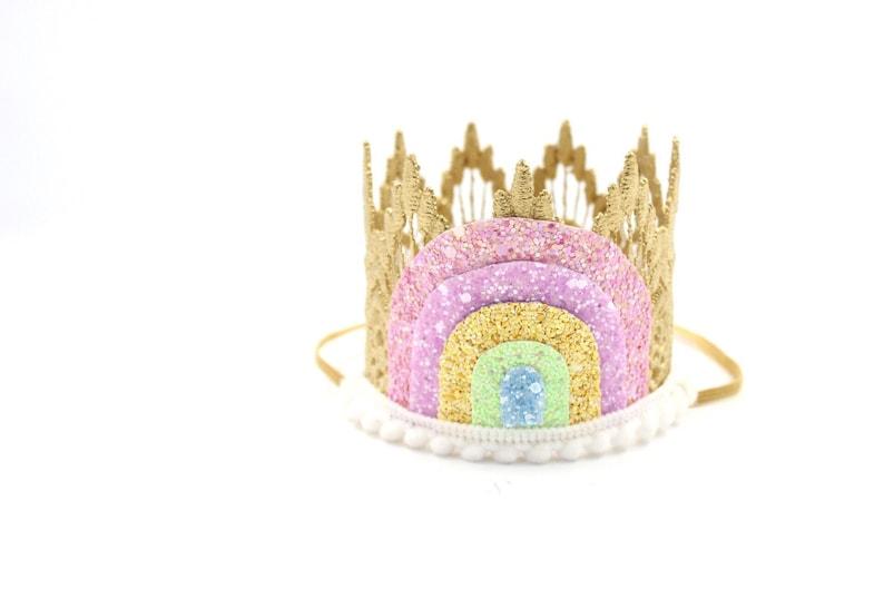 NEW sparkly pastel rainbow MINI Sienna lace crown headband  image 0