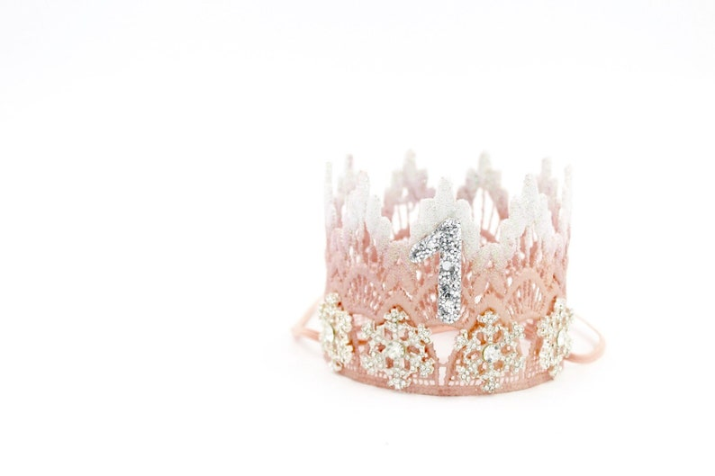 Winter ONEderland first birthday crown  frosted blush MINI image 0