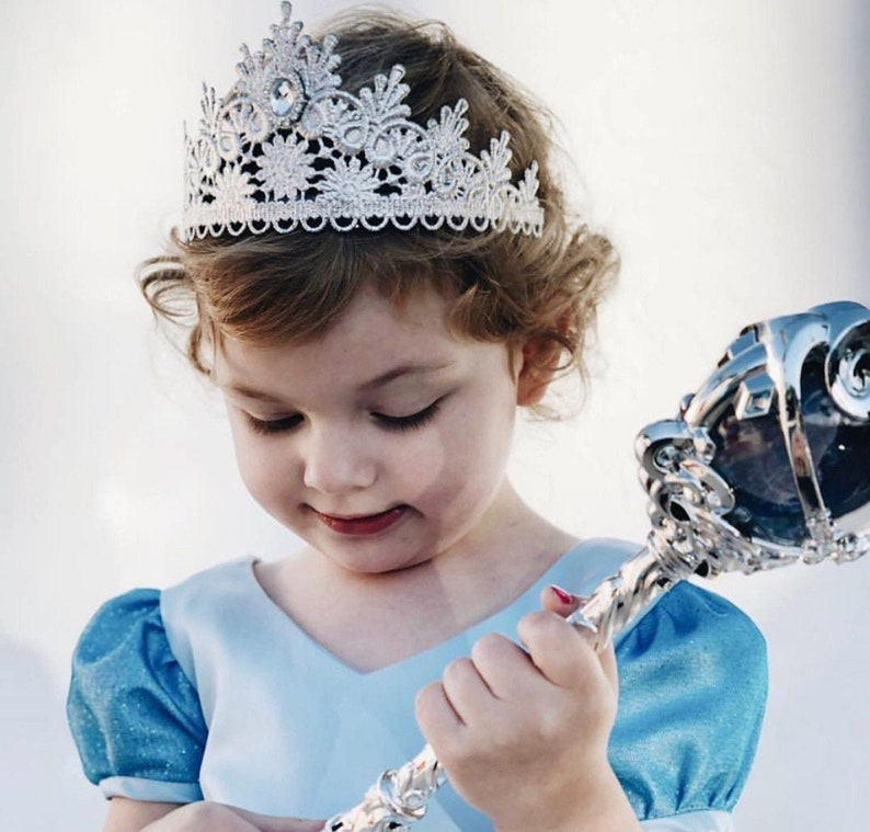 Tallulah SILVER lace tiara with crystal jewel   princess image 0