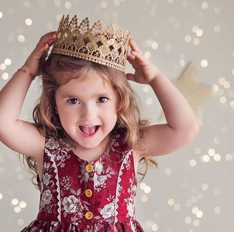 The Original Heavenly FULL SIZE gold lace crown  Child-Adult image 0