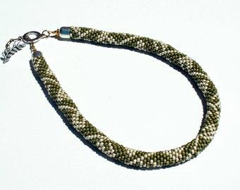Necklace, Bead Crochet Leafy Green