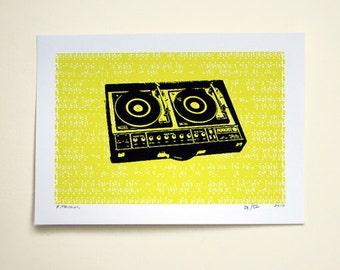 Record Turntable Art Print - Hand Printed - 5X7