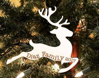 Christmas 2017 Personalized Engraved Wood Reindeer Christmas Ornament - Wood Deer Ornament