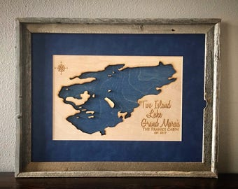 Two Island Lake Grand Marais, Minnesota - Barnwood Framed 3D Lake Sign - Customizable Handmade Engraved Lake Sign