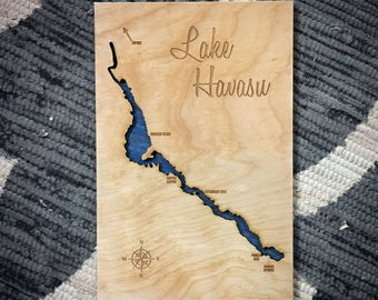 Lake Havasu, Arizona 3-D Lake Sign - Customizable Handmade Custom Map with Compass and Lake Name Engraved - North Idaho Made