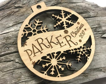 Parker - Customizable Baby's First Christmas Ornament - Engraved Birch Wood Ornament