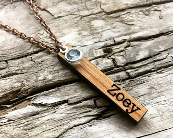 f09e3e84b81a ZOEY - Custom Name and Birthstone Vertical Wood Bar Necklace - Wooden Bar  Drop Necklace with Copper Tone Chain - Mothers Day Gift