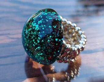 Green Glitter Stretchy Ring