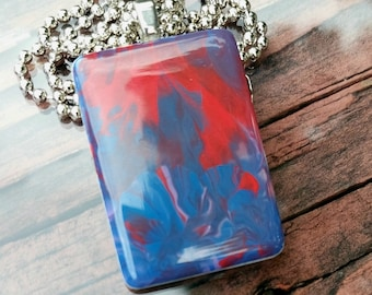 Rising Flame Game Tile Pendant Necklace