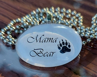 Mama Bear Glass Tile Pendant Necklace