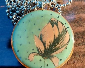 Flower resin wooden tile pendant