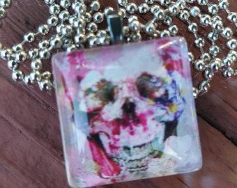 Pretty in Pink Skeleton Glass Pendant