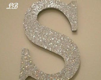 """SILVER GLITTER LETTERS-Super Sparkling Octagon/Prisma Glitter Wall Letters- 5"""" or 8"""" Initials,Names,or Words in A-Z"""